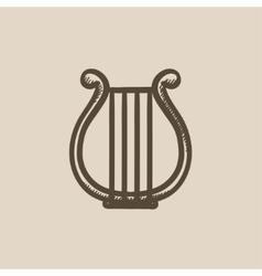 Lyre sketch icon vector