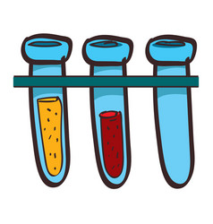 medical test tubes colored in hand drawing style vector image