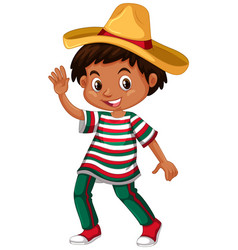 mexican boy in traditional outfit vector image