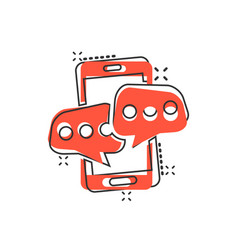 Mobile phone chat sign icon in comic style vector