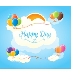 Multicolored balloons in the clouds vector
