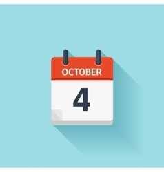 October 4 flat daily calendar icon Date vector image
