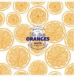 Orange seamless pattern hand drawn fruit vector