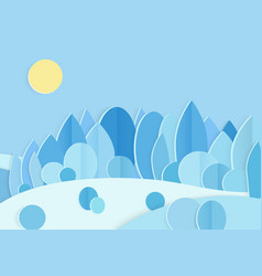 pasteboard blue winter forest flat vector image