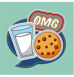 patches omg milk cookie food speech bubble vector image
