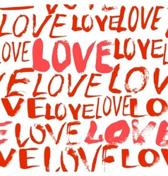Pattern with hand painted words love vector image