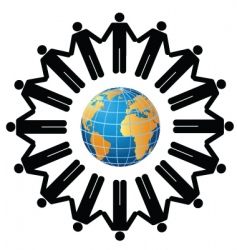 people globe vector image