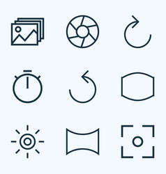 Picture icons line style set with capture wb vector