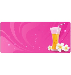pink banner with glass of juice vector image vector image