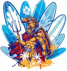 Poseidon over surfboard elements vector