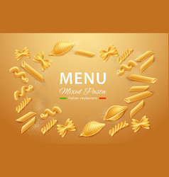 realistic italian pasta dry mix for menu vector image