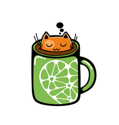 red cat in the cup of coffee vector image