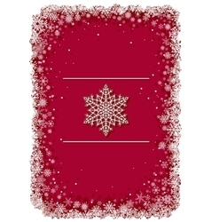 Red Christmas frame with snowflakes vector image