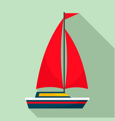 red sail boat icon flat style vector image