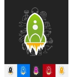 Rocket paper sticker with hand drawn elements vector