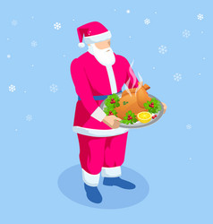 Santa claus standing holding roasted turkey vector