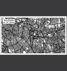 Sao paulo brazil city map in black and white color vector