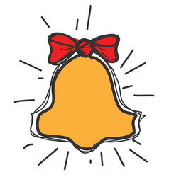 school bell with red bow knot drawing icon vector image