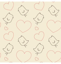 Seamless Pattern - Birds and Hearts vector image