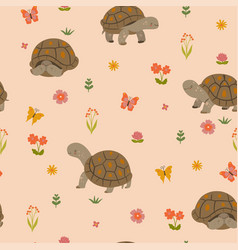 seamless pattern with cute land turtles vector image