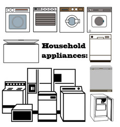 set household appliances with refrigerator vector image