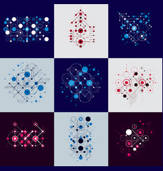 Set of abstract backgrounds created in bauhaus vector