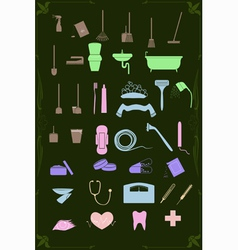 set of cleaning and healthcare icons in pastel vector image vector image
