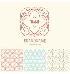 set of outline emblems and patterns vector image