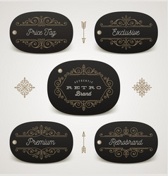 Set of price tag or brand label with flourishes vector
