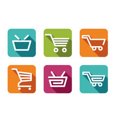 shopping carts and baskets vector image