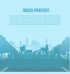silhouette style protest people crowd vector image