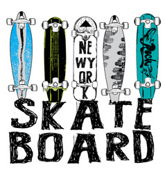 Skate board typography t-shirt graphics vector