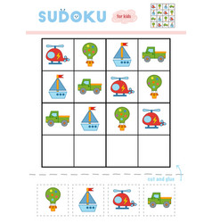 sudoku for children education game balloon pickup vector image