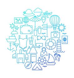 Summer line icon circle design vector