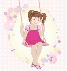 swinging girl vector image