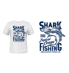 t-shirt print with hammer head shark mascot vector image