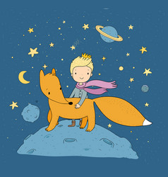 The little princea fairy tale about a boy a rose vector