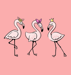 three pink glamorous flamingos stand vector image