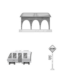 train and station logo vector image