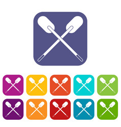 two wooden crossed oars icons set flat vector image