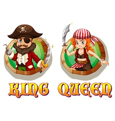 Viking king and queen on badges vector