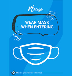 Warning poster wear mask vector