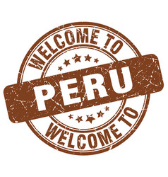 Welcome to peru brown round vintage stamp vector