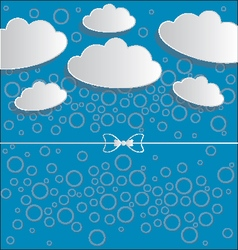 clouds on blue background with circles and ribbon vector image vector image