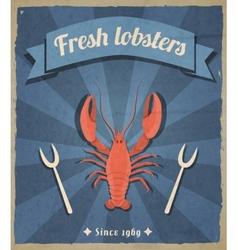 Lobster retro poster vector image vector image