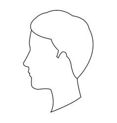 profile head guy young character outline vector image