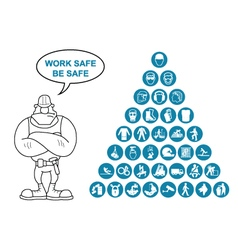 Pyramid Health and Safety Icon collection vector image vector image