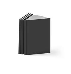Stack of black books on white background mockup vector