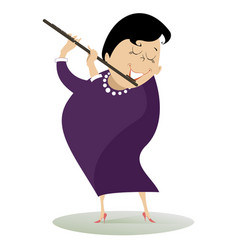 woman plays the flute isolated vector image vector image