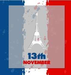 Eiffel tower icon in flag background vector image vector image